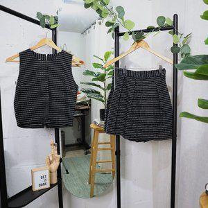 Grid Top & Pleated Skirt Set